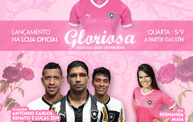 d2f5f34b4b136 Botafogo lança camisa rosa em loja oficial com gandula musa e jogadores