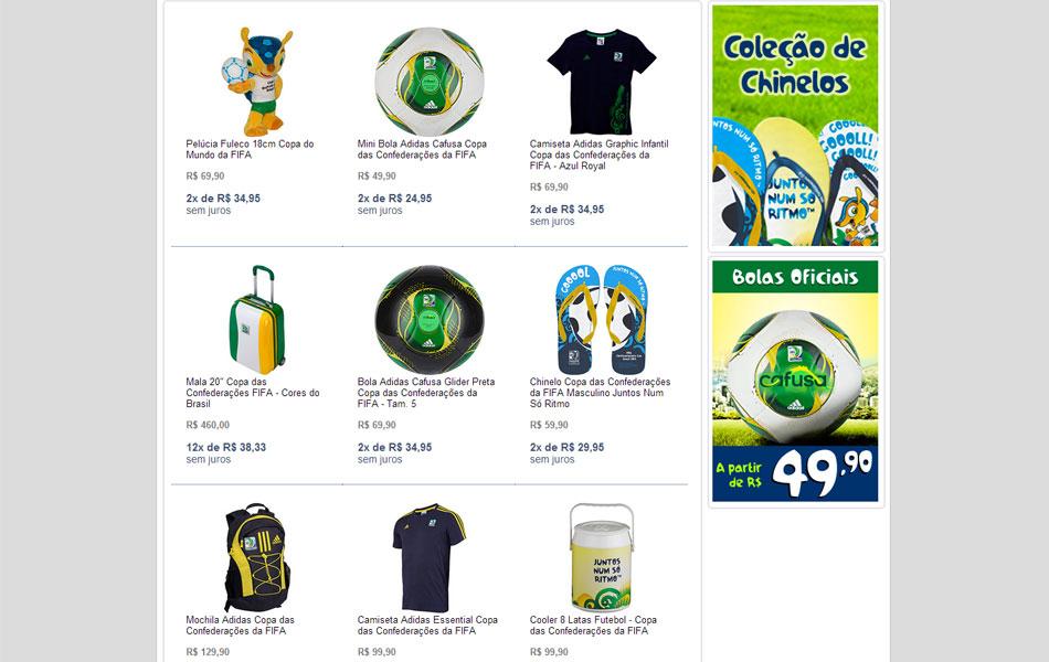 Fifa lança loja virtual com produtos oficiais da Copa e das Confederações  906e28e24eb42