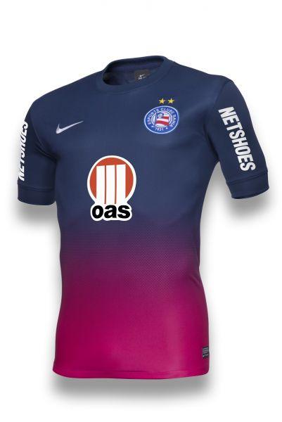 Rosa  Bahia lança terceiro uniforme com degradê e inova nas cores ... 7bae07b5fe0fd