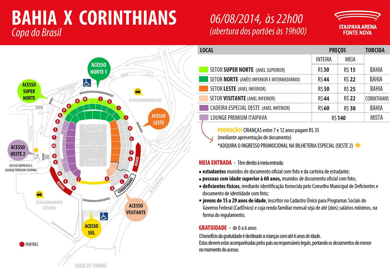 c17fb92d43 Bahia x Corinthians  ingressos para a partida de quarta-feira estão à venda