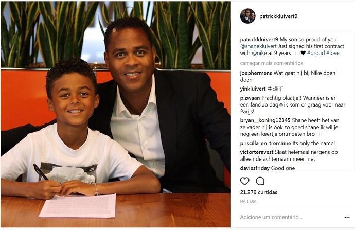 BLOG: Aos 9 anos, filho de Kluivert assina com marca esportiva e faz sucesso na internet