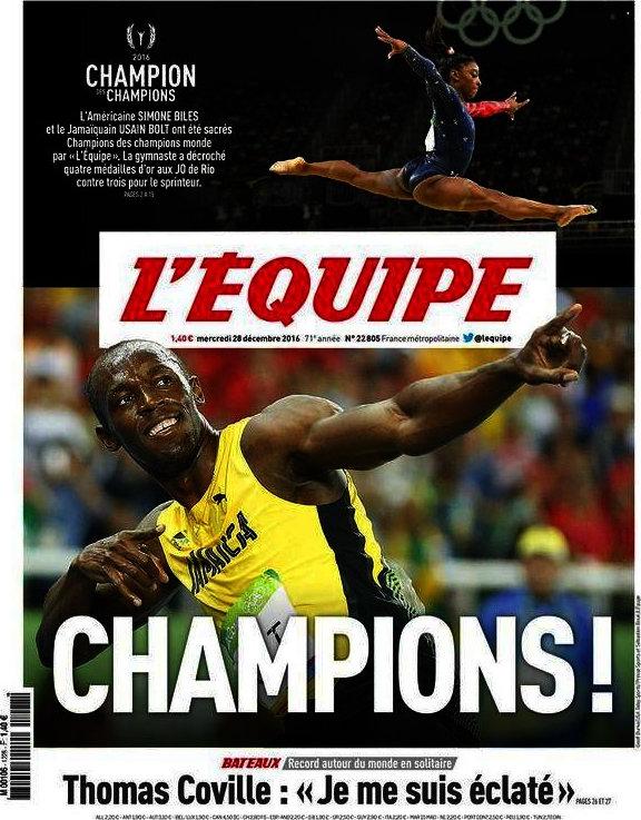 BLOG: Usain Bolt e Simone Biles, os campeões dos campeões pelo L'Equipe