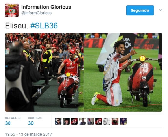 BLOG: Lateral do Benfica entra em campo de lambreta para comemorar tetra