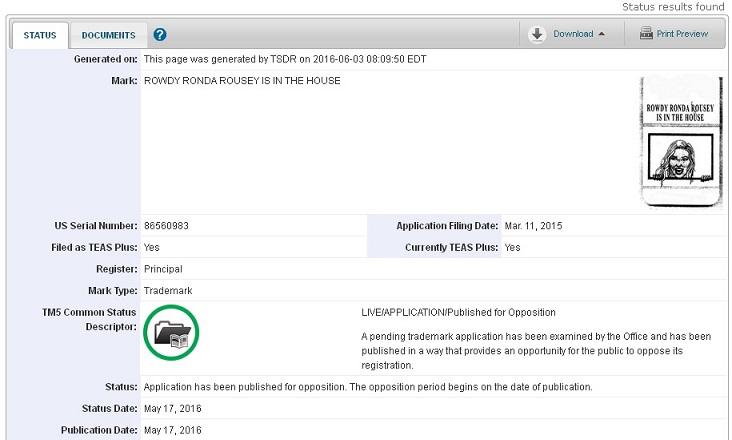 BLOG: Ronda Rousey registra logotipo bizarro nos EUA para crachás de plástico