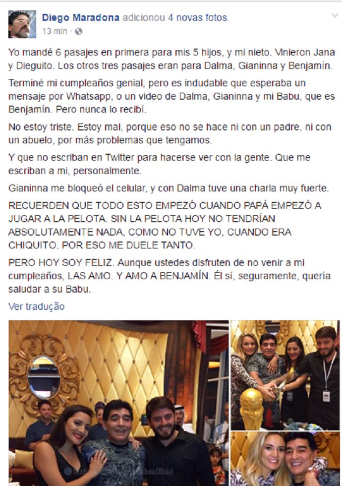 """BLOG: Maradona desabafa contra filhas por ausência em aniversário: """"Isso não se faz"""""""