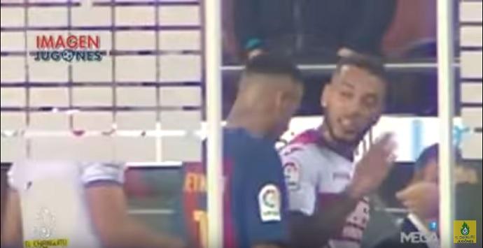 BLOG: TV espanhola flagra discussão e empurrão de Neymar em zagueiro do Granada