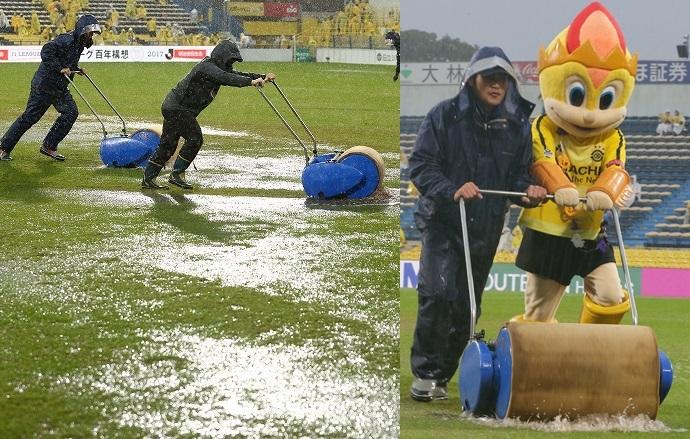 O campo do Hitachidai estava tão encharcado que até o mascote ajudou na  drenagem  o início da partida foi atrasado em 30 minutos fa5daba0bede0