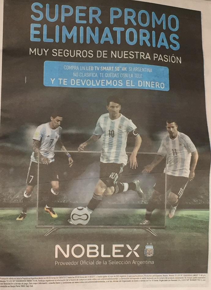 BLOG: Marca de TV promete devolver dinheiro a consumidores se Argentina não for à Copa