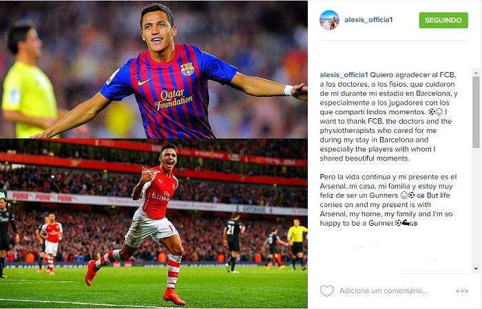 BLOG: Alexis Sánchez mostra carinho pelo Barça, mas diz que Arsenal é a sua casa