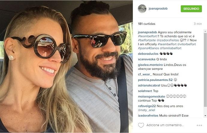 BLOG: Joana Prado raspa lateral da cabeça em homenagem ao marido, Vitor Belfort