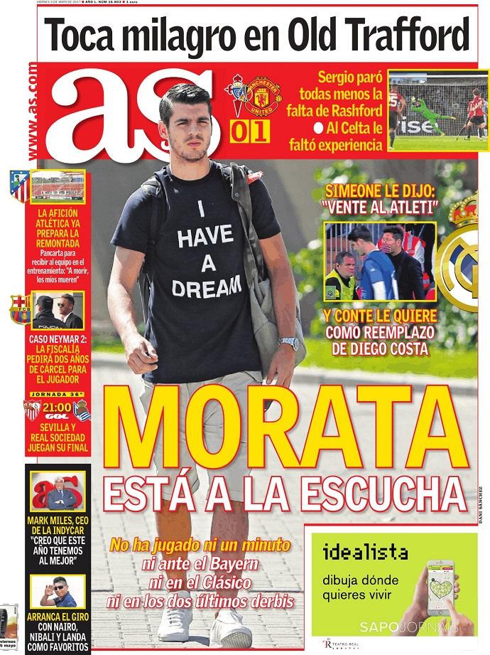 """BLOG: Simeone teria dito a Morata: """"Venha comigo para o Atlético"""""""