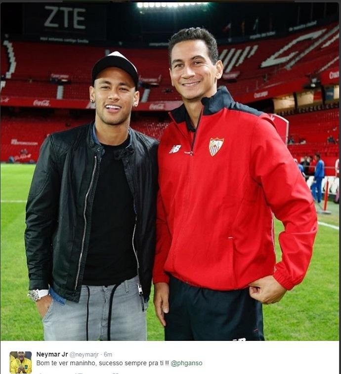 """BLOG: Após reencontro, Neymar posta foto com Ganso: """"Sucesso pra ti!"""""""