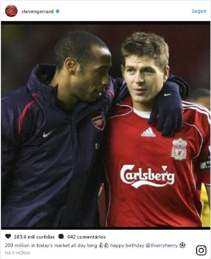 """BLOG: Thierry Henry completa 40 anos e é """"comparado"""" a Neymar por Gerrard"""