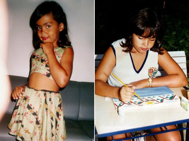À esquerda, Analice faz pose.  Na outra foto, a ex-sister mostra que era aplicada no colégio