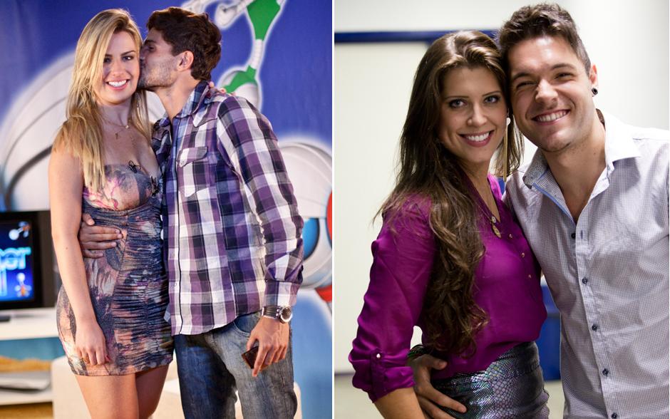 Alegria de casais: André beija Fernanda; Andressa e Nasser sorriem abraçados