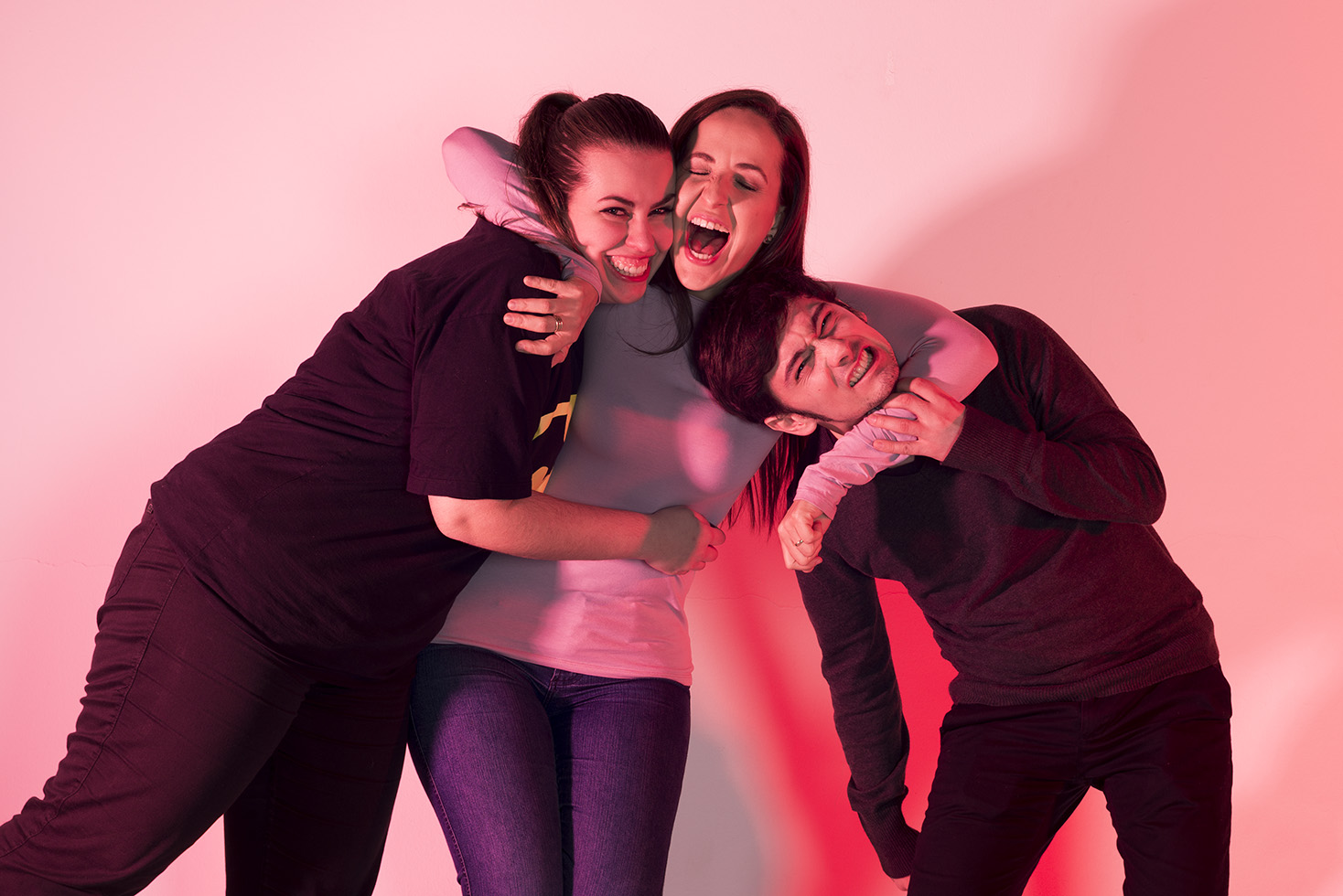 Os amigos Ursula Jahn, Rochele Ben Duarte e Moacir Lopes Costa