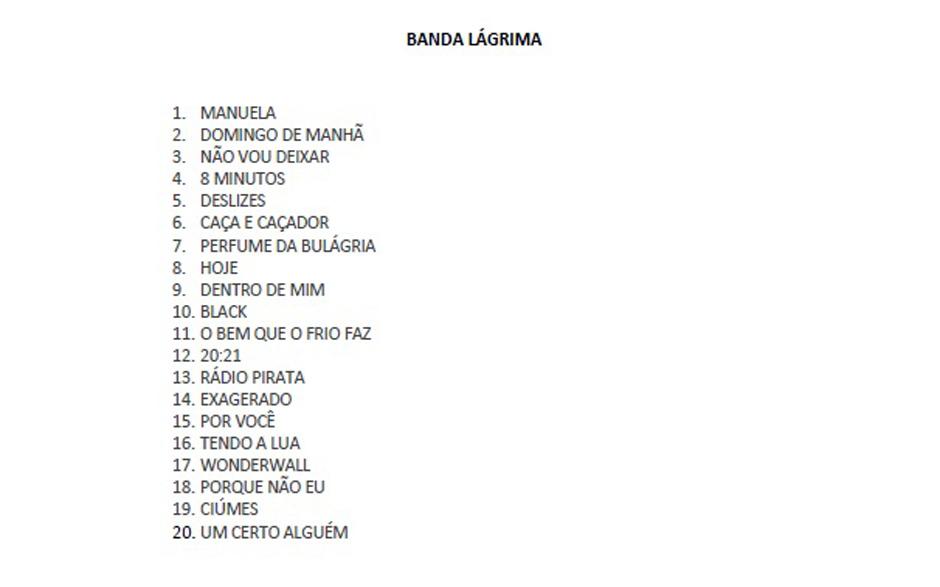 Set list Banda Lágrima