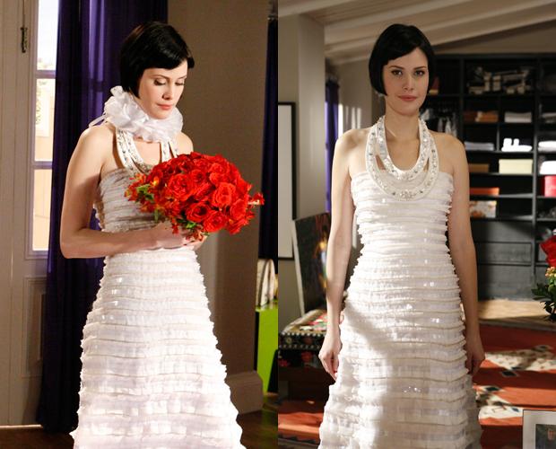 Melina usou vestido forrado de cetim de seda pura com pregas de organza