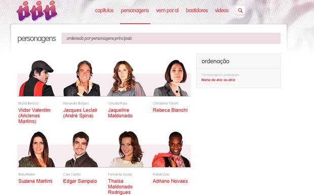 Nova página de Personagens de Ti-ti-ti