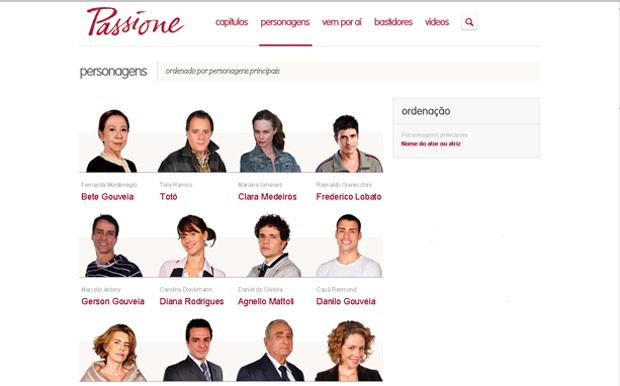 Nova página de Personagens de Passione