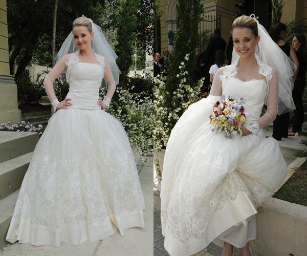 A noiva Camila Bianchi vestindo Victor Valentim