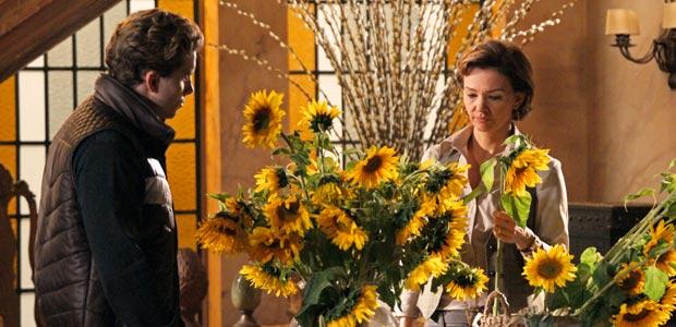 Amélia e Vitor conversam na sala da fazenda