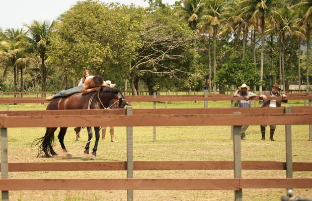 Solano resolve montar o cavalo bravo