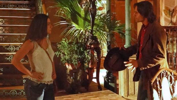 A viúva se irrita quando o gaúcho diz que vai asir com Manuela