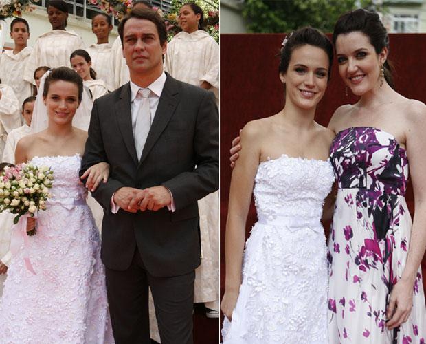 Fátima com Gerson e Felícia, momentos antes de chegar ao altar