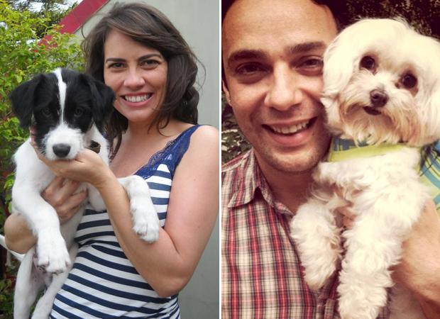 Adriana Prado e Marcelo Medici exibem seus cachorrinhos