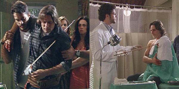 Solano chega ao posto médico carregado /  Ricardo extrai a flecha de seu peito