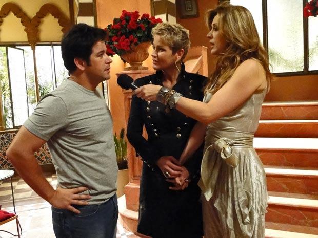 Xuxa, ao lado de Murilo Benício e Cláudia Raia