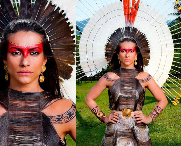 Estela deslumbra com seu visual indígena