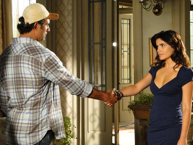 Abner e Celeste trocam um aperto de mão selando a amizade
