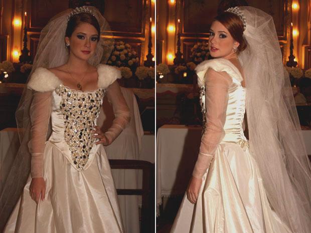 Marina Ruy Barbosa gostou do vestido de noiva de Alice