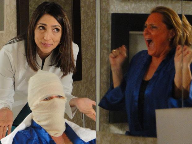 Tratamento de Carolina não dá certo e Minerva leva um susto ao ver a nova cor do seu rosto (Foto: Morde & Assopra/TV Globo)
