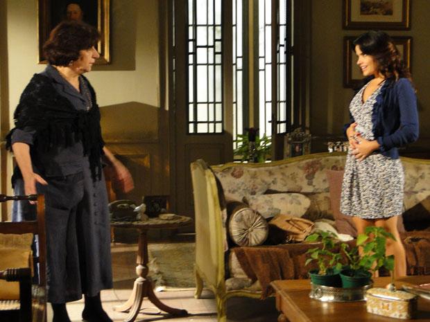 Salomé manda Celeste dizer para Abner que está grávida (Foto: Morde & Assopra/TVGlobo)
