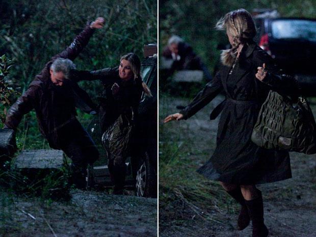 Após ser agarrada por Pimentel, ela o derruba no chão e sai correndo (Foto: Morde & Assopra/TV Globo)