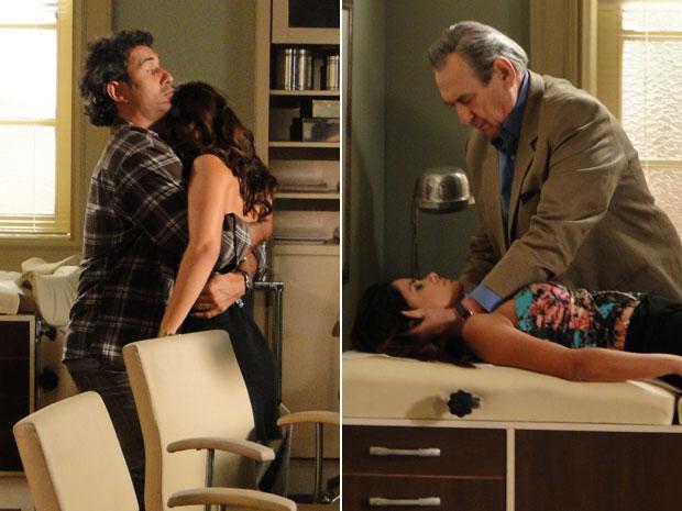 Celeste desmaia nos braços de Abner ao ser pressionada e Eliseu decide examiná-la (Foto: Morde & Assopra/TV Globo)