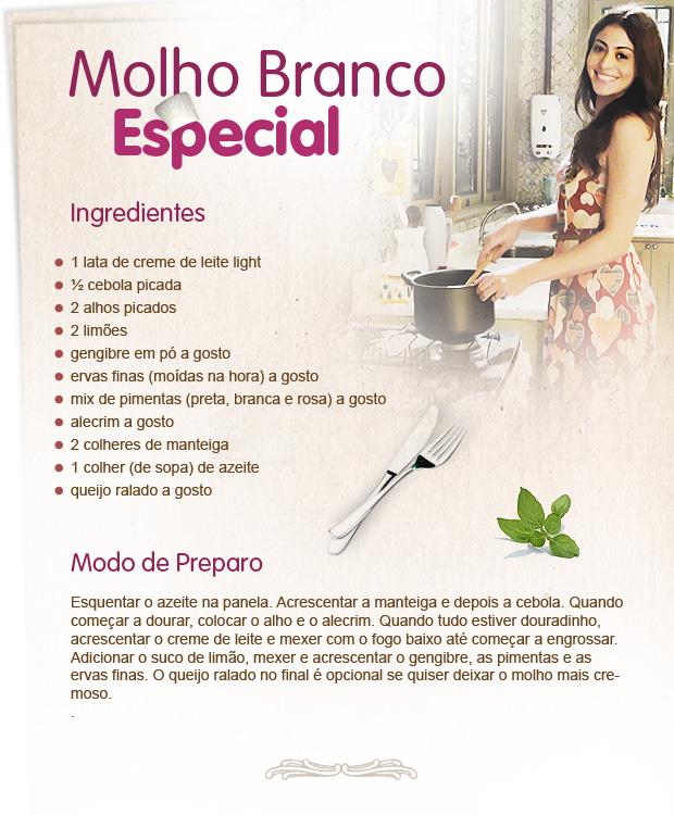 Carol também ensina o seu molho branco especial (Foto: Morde & Assopra / Tv Globo)