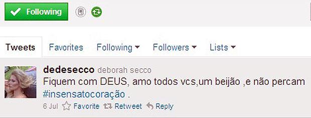 Debora Secco também usa o Twitter para falar de Insensato Coração (Foto: Insensato Coração / Tv Globo)