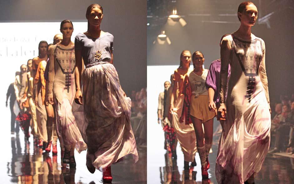 Coleção feminina: comprimentos longos nas saias e vestidos, tecidos esvoaçantes e cores suaves