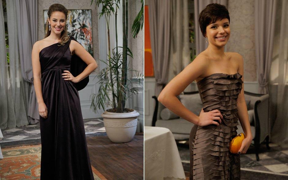 Marina acerta no preto elegante, enquanto Leila opta pelo vestido de camadas, que só cai bem para quem está em plena forma