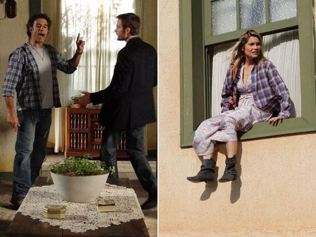 Abner impede que Wilson vá até o quarto. Naomi aproveita e sai pela janela (Foto: Morde & Assopra/TV Globo)