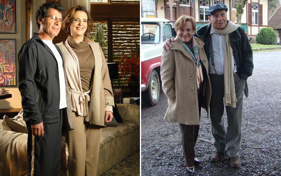 Eva (Ana Beatriz Nogueira) e Iná (Nicette Bruno) usam trench coach marfim, enquanto Jonas usa um modelo mais esportivo. Já Laudelino é fã de boina e cachecol para amenizar o frioano)
