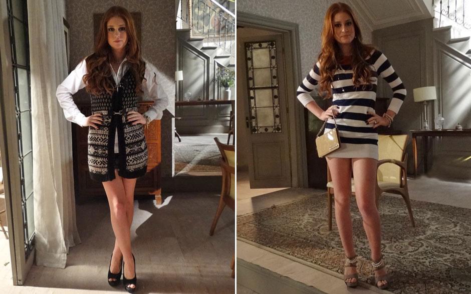 A ruivinha fica fashion com short, camisa e sobretudo. Vestido curtinho realça sua beleza