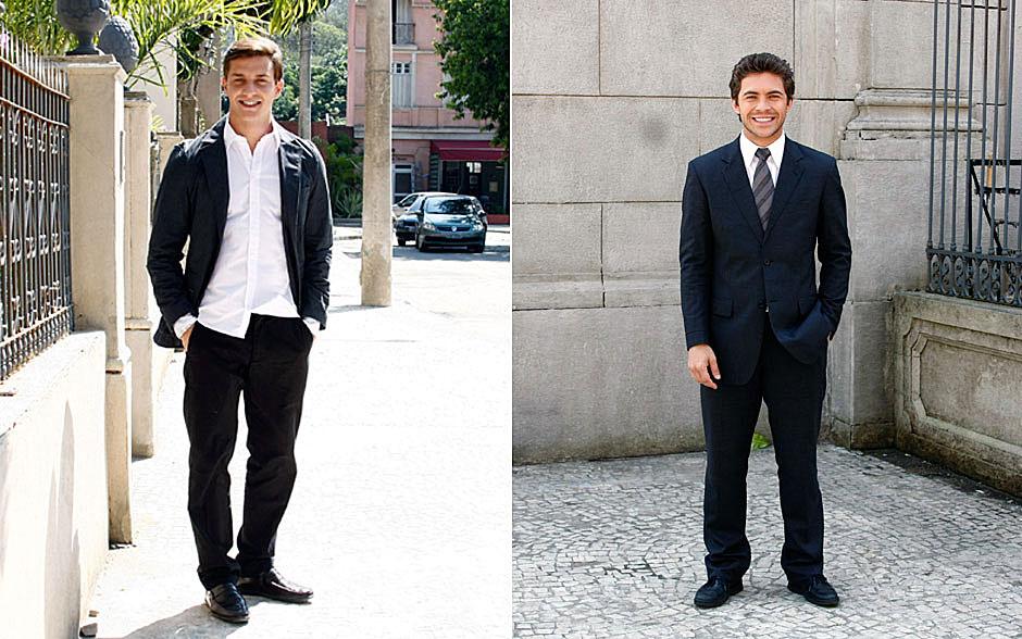 Guilherme usa um terno moderninho e Renato opta pelo clássico com gravata listrada