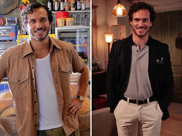 Guaracy antes e depois: agora, de barba e cabelo aparados e look esportivo (Foto: Fina Estampa / TV Globo)