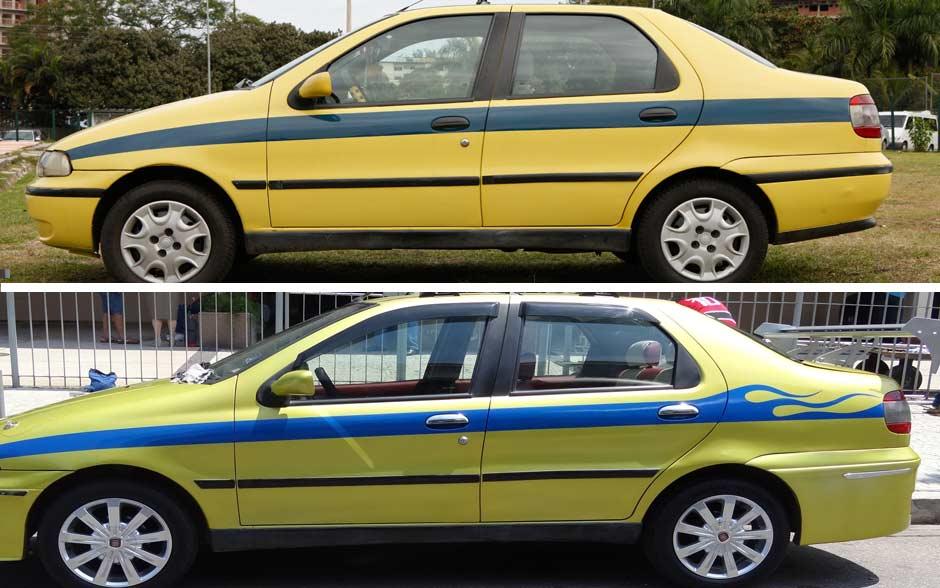 Visual geral do táxi de Vilma antes de passar pelo 'Lata Velha' e depois