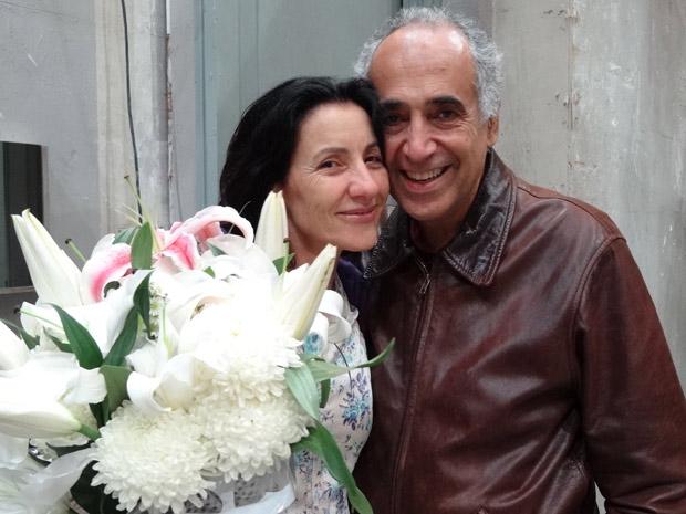 O marido da atriz acompanhou a última gravação (Foto: Morde e Assopra/ TV Globo)